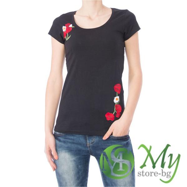 7da5a4ed702 Модерна дамска блуза с бродерия на цветя - BLU86